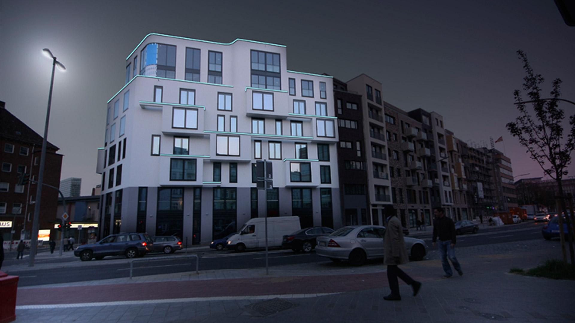 MAASS-Lichtplanung_Fassadenbeleuchtung Steinkreuzquartier in Hamburg__MAASS-Fassadenbeleuchtung-Steinkreuzquartier-002