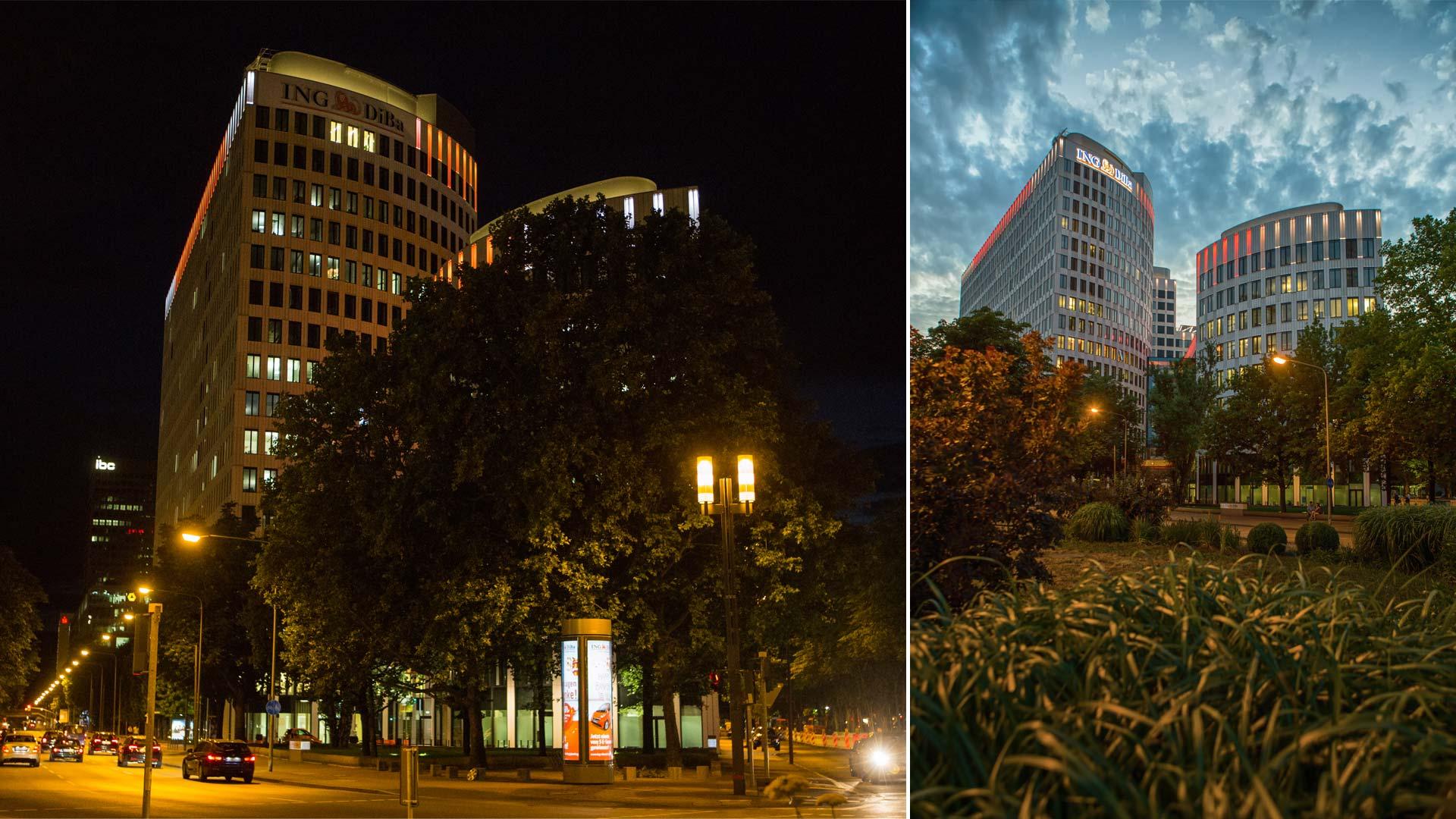 """MAASS-Lichtplanung_Fassadenbeleuchtung ING-DiBa AG Headquarter """"LEO""""__MAASS-LEO-Attikabeleuchtung-006"""
