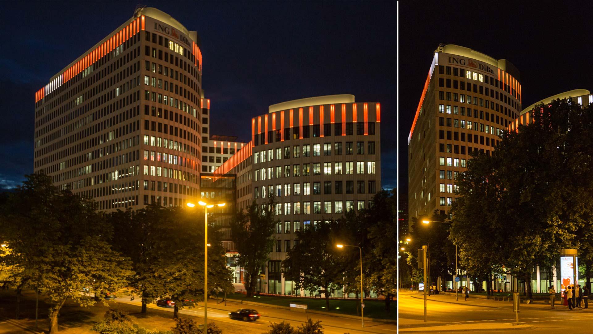 """MAASS-Lichtplanung_Fassadenbeleuchtung ING-DiBa AG Headquarter """"LEO""""__MAASS-LEO-Attikabeleuchtung-008"""